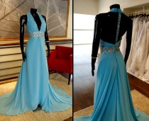 Vestido Celeste Escote Profundo - La Boutique de la Mariée
