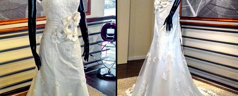 Vestido con cinto de flores - La Boutique de la Mariée