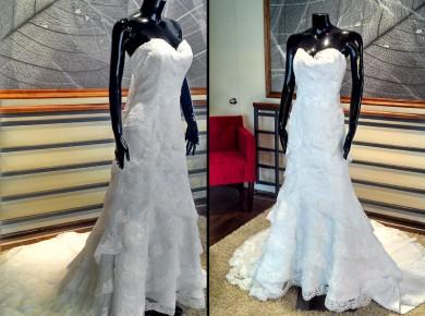 Vestido de novia strapless y vuelos de encaje