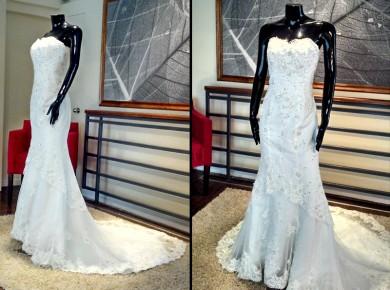 Vestido de novia strapless y bordados