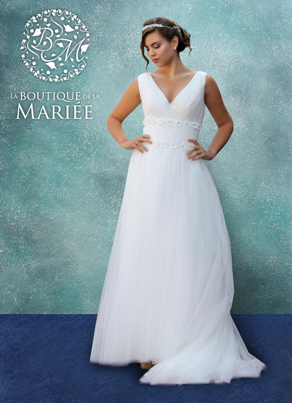 Vestido de Novia escote en V - La Boutique de la Mariée | Vestidos ...