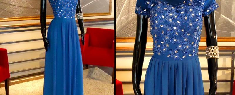 Vestido Azul Manga Corta - La Boutique de la Mariée