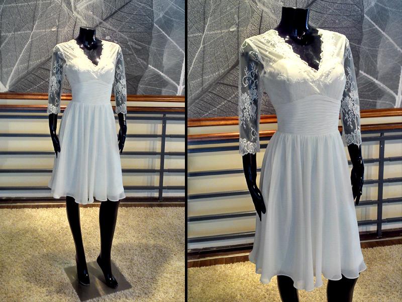 Vestido de novia corto escote en V